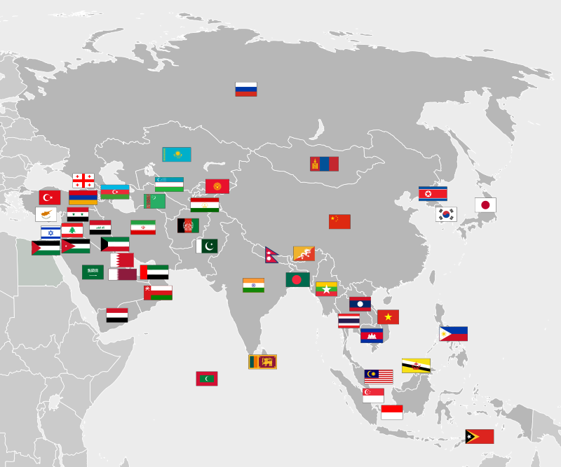 Location and Hattrick countries of Asia